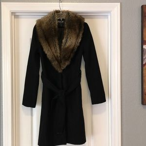 Nasty Gal Black wool faux for extra small jacket